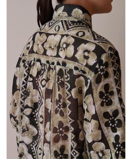 Flower × Native pattern cotton shirt