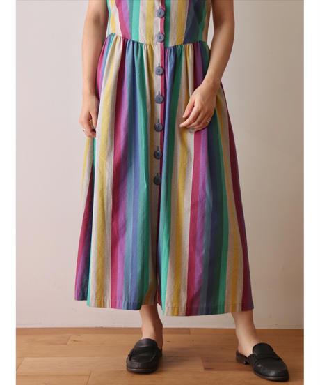 Multicolored stripe one piece