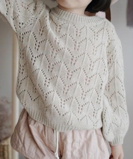 Perforated pure cashmere sweater (Beige)