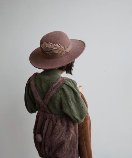 Feather felt hat(burgundy)
