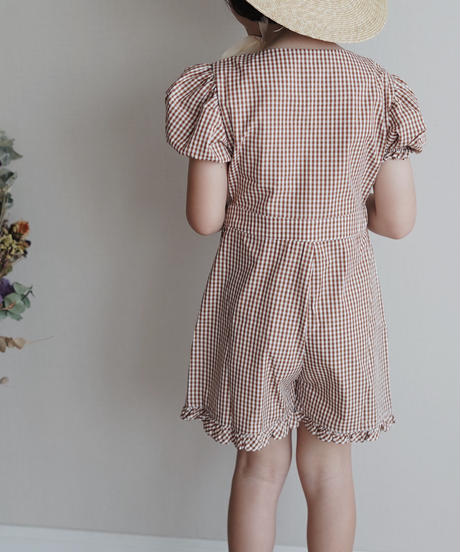 Frill trimmed romper (Brown)