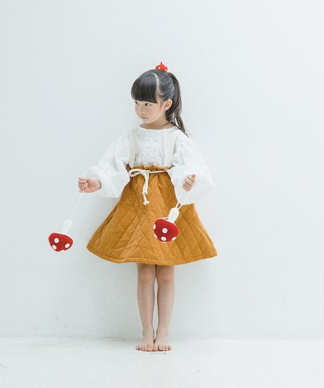 Quilted suspender skirt honey ginger