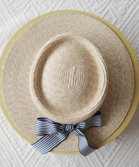Stripe ribbon straw boater