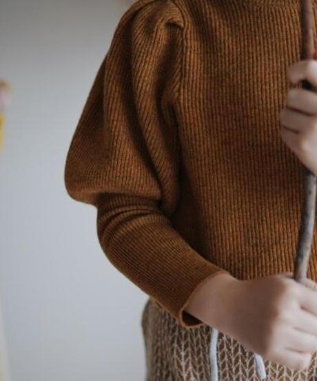 Puff sleeve sweater(Pumpkin)