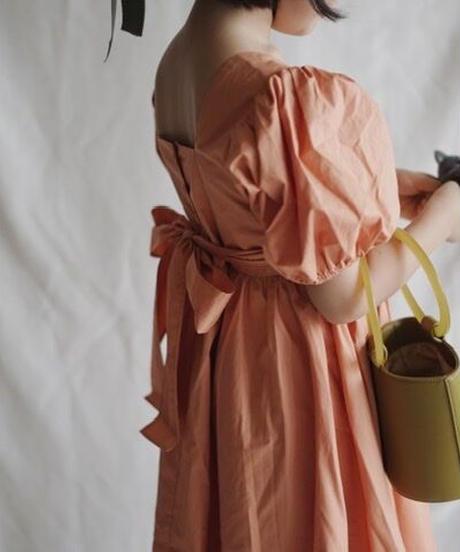 Balloon-sleeve dress(orange)