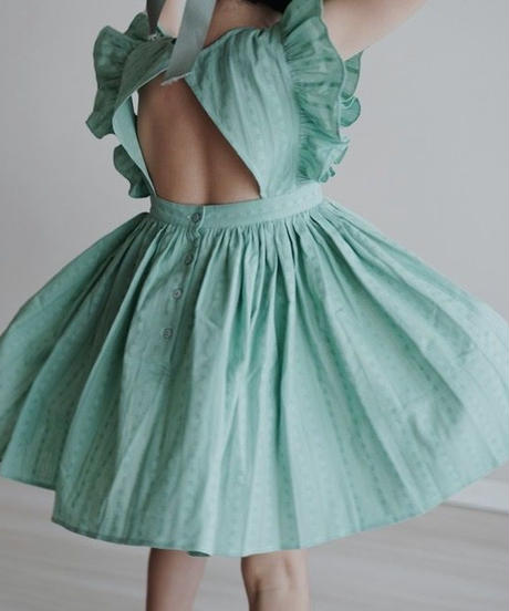 Flutter sleeve dress(Green)