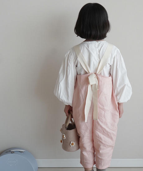 Back bow line jumpsuit pink