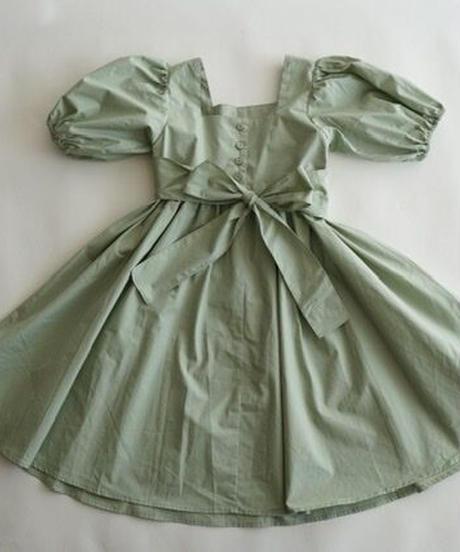 Balloon-sleeve dress(mint green)