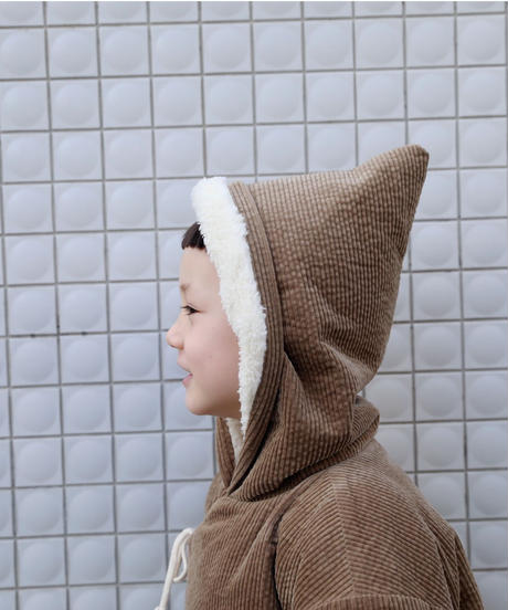 Corduroy hooded coat (Silver pink)