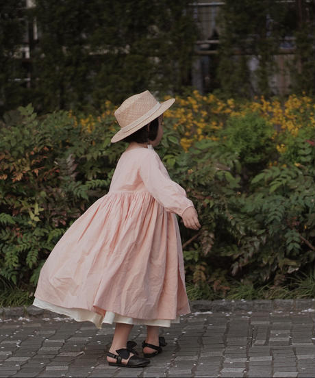 Double pleated cotton dress (salmon pink)