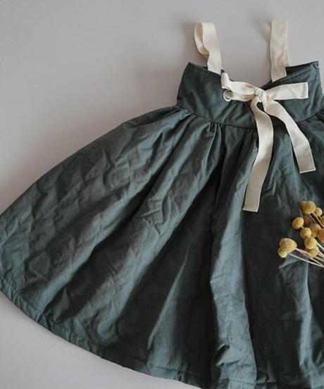 Padded suspender dress(lake blue)