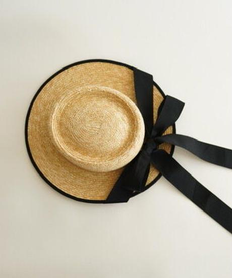 Ribbon-detail straw hat