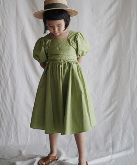 Balloon-sleeve dress (green)