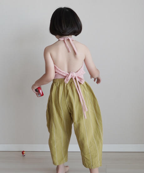 Stripe linen pants(yellow green)