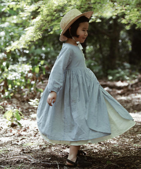 Double pleated cotton dress (blue)