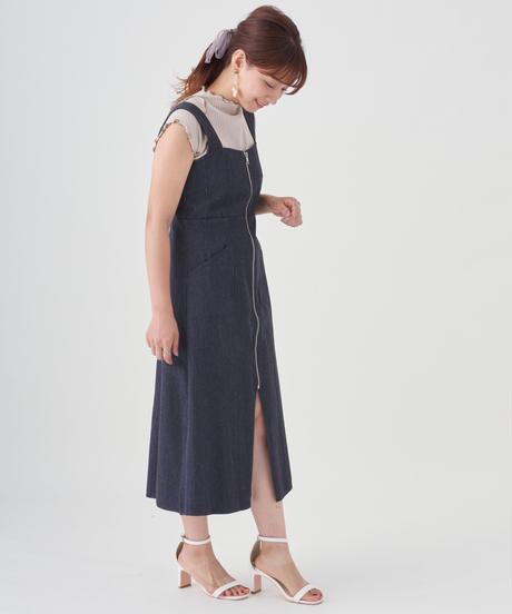 フロントジップデニムワンピース【7-10日程度で発送予定】