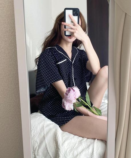 半袖パイピングサテンルームウェア【7-10日程度で発送予定】