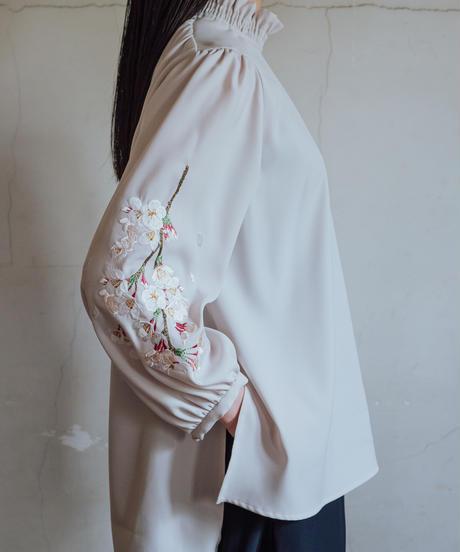 花を着るブラウス#02【桜】-lightgray-