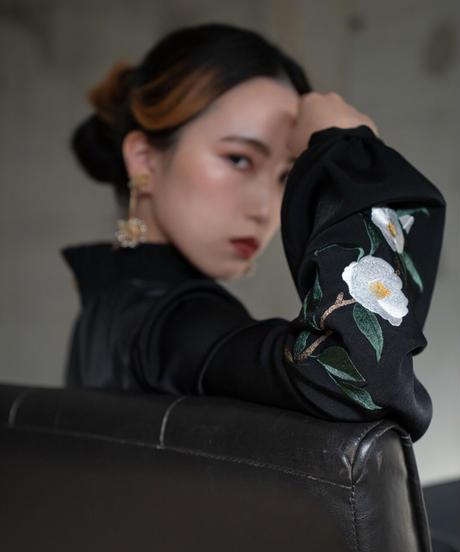 花を着るワンピース#03【白椿】-black-