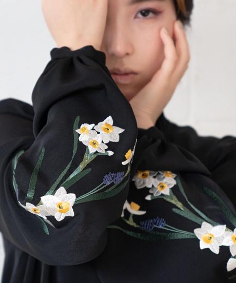 花を着るワンピース#03【水仙】-black-