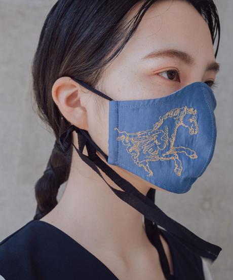 ペガサス刺繍マスク【ブルー】