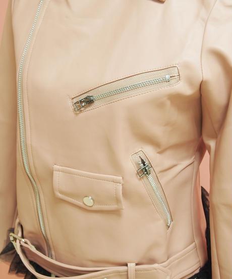 リメイク裾レース&しぼりベルト付きフェイクレザーカラージャケット