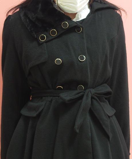 もこもこ襟裾フレアーミリタリー風ワンピース