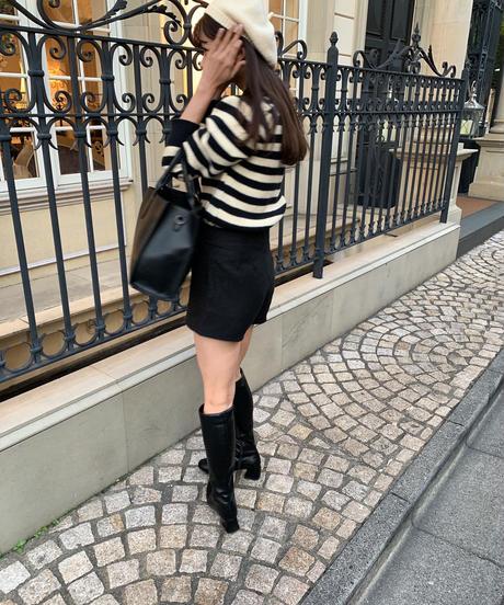 french border big collar knit