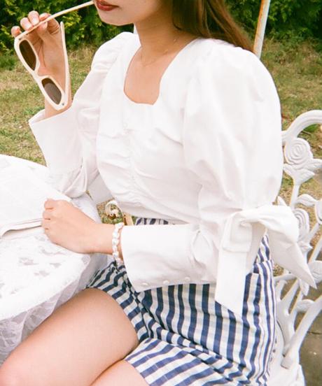 avec amour ribbon blouse
