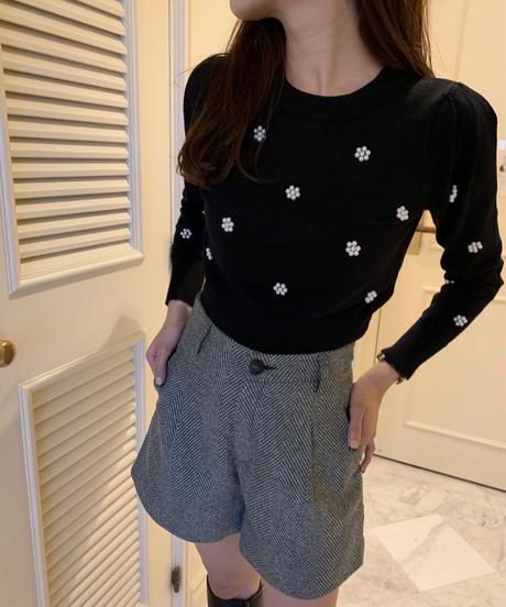 pearl flower puff knit