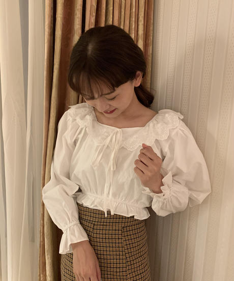 lace collar mini blouse〈M01-B034〉