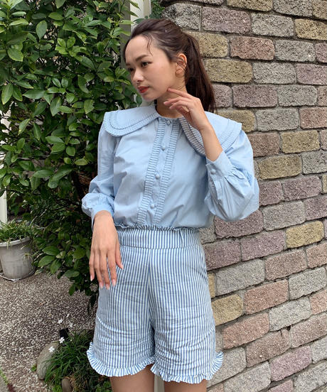 french marine stripe short pants