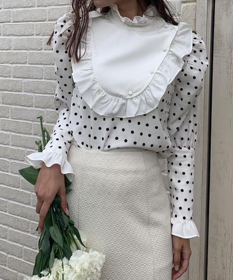 milky dot waitress blouse