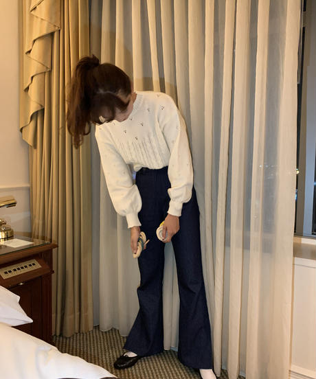 side slit denim pants〈M01-P012〉