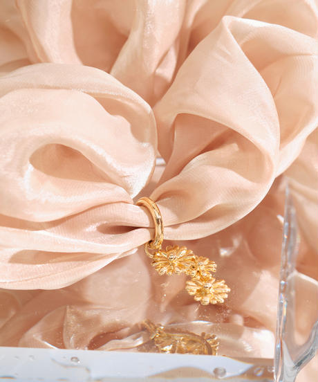 Floral Scrunchie Big(Beige)