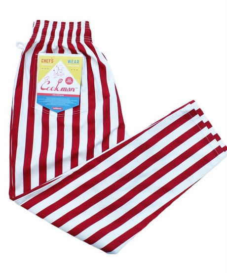 """COOKMAN""Chef Pants[Wide Stripe/RED]"