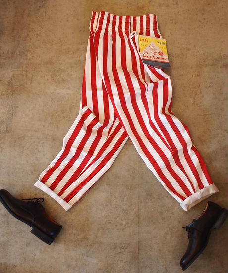 """""""COOKMAN""""Chef Pants[Wide Stripe/Red]"""