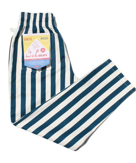 """COOKMAN"" Chef Pants[Wide Stripe/Blue]"