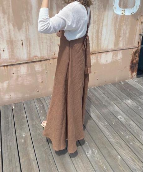 apron onepiece linen brown