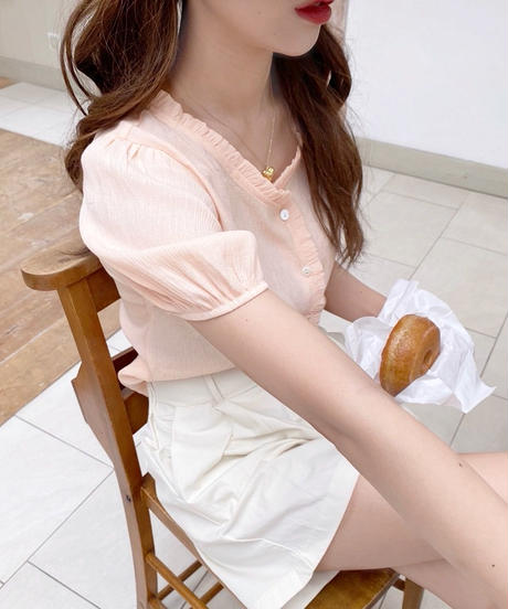 petit frill shell button blouse ( 2color )