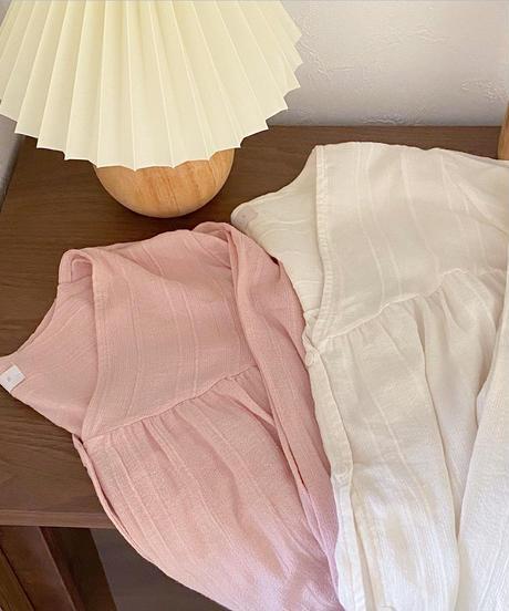 over fit v neck stripe blouse (2color)