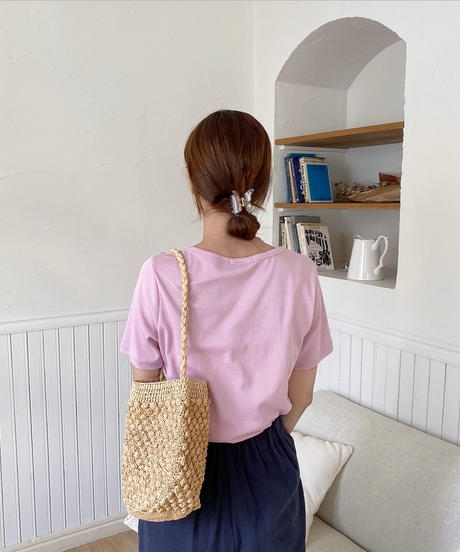 color u neck tee shirt (2color)