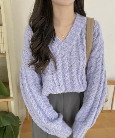 《予約販売》v neck over fit cable knit (2color)