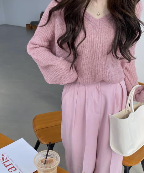 《予約販売》alpaca v neck knit (3color)