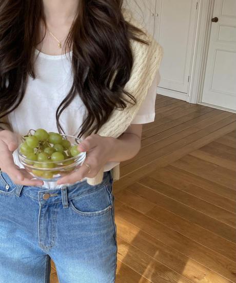 《予約販売》apple u neck tee (4color)