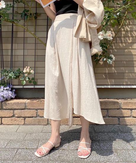 linen asymmetry flare skirt (2color)