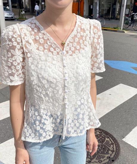flower lace peplum blouse camisole set(2color)