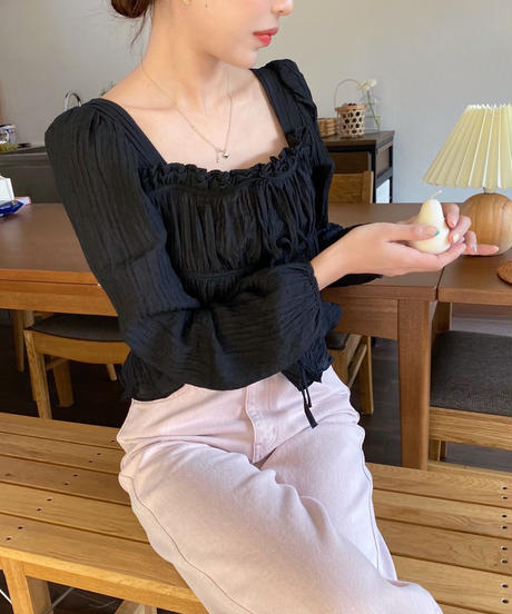 double ribbon blouse (2colour)