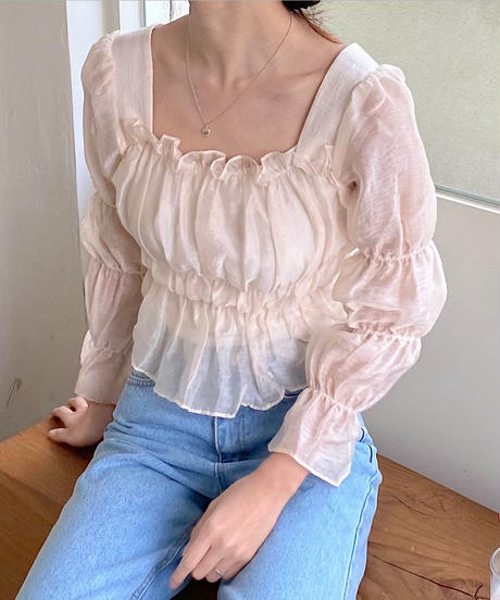 see-through square neck blouse (2collar)
