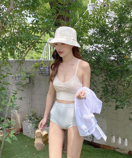 high-waist knit bikini (2color)